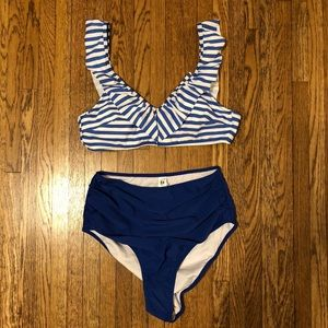 Cupshe Blue Striped Bikini with Ruffle